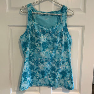 Danskin Blue Floral Athletic Tank Size XL